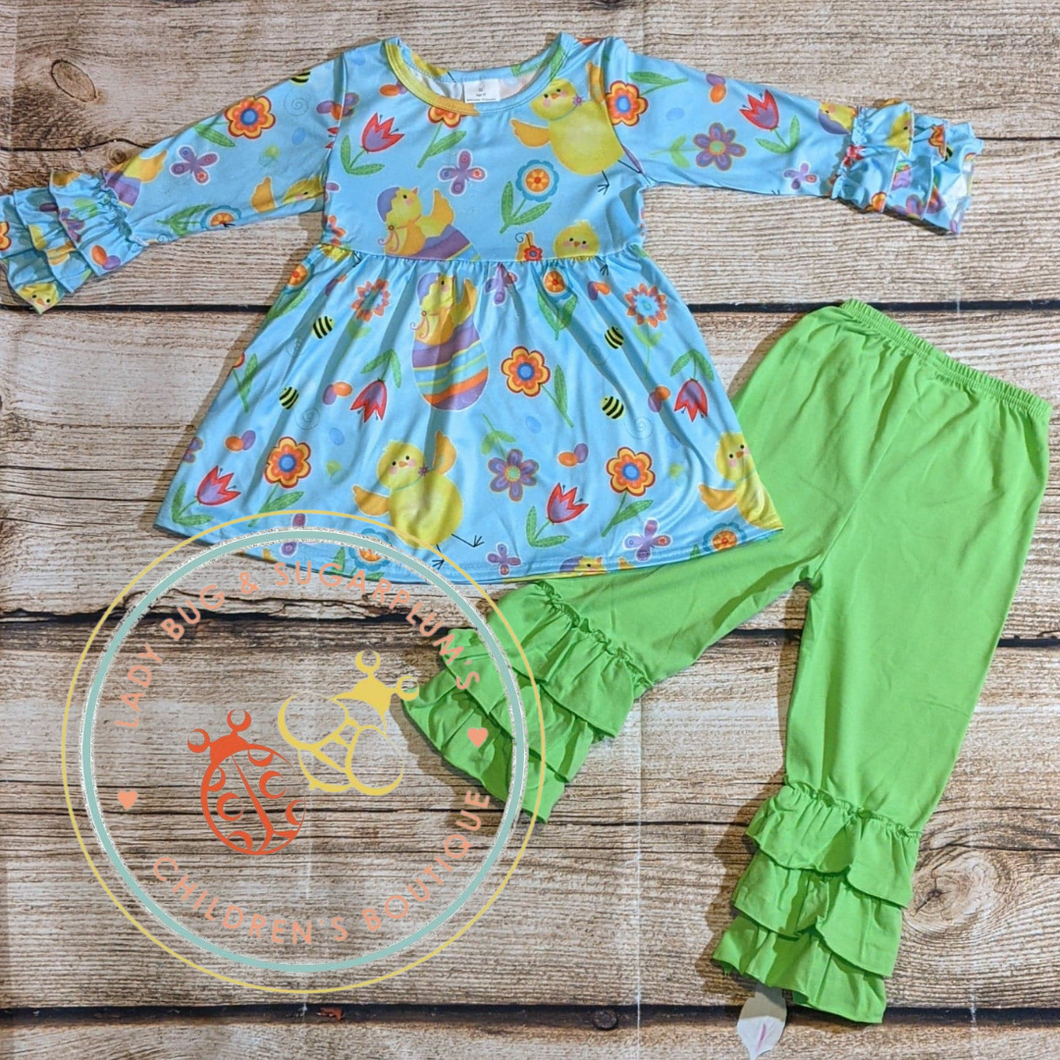 Easter Duckie Ruffle Bell Pant Set