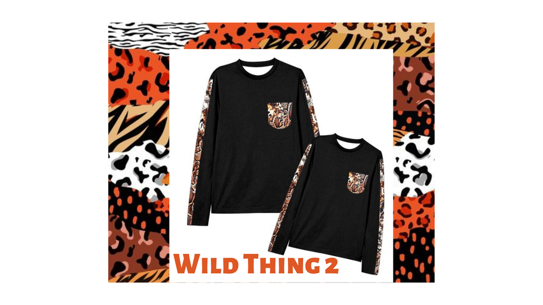 WILD THINGS #2 Mommy and Me: Long Sleeve Snake Mix Print Shirt with Pocket