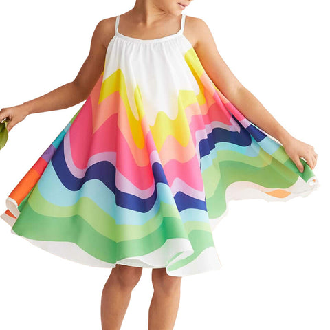 Girls Summer Rainbow Printed Sleeveless Casual Dress - Multicolor 4-5 Y