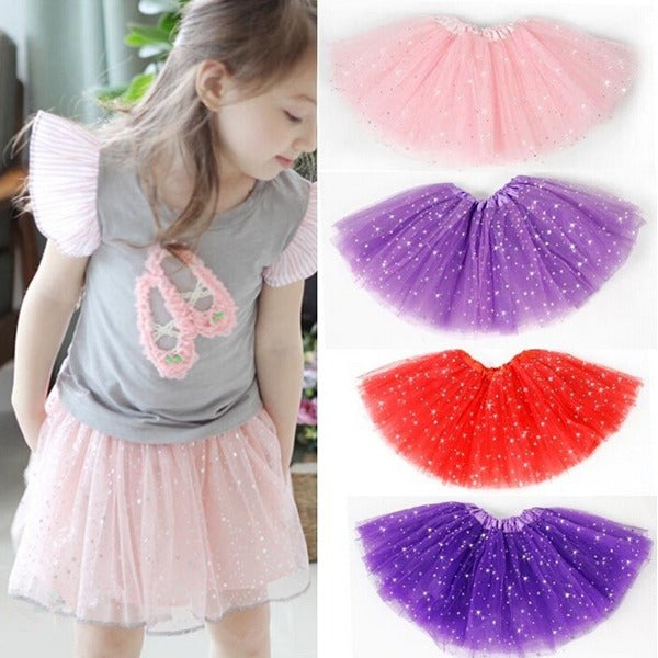Baby Girls Princess Sequins Ballet Dance Tutu Skirt - Purple