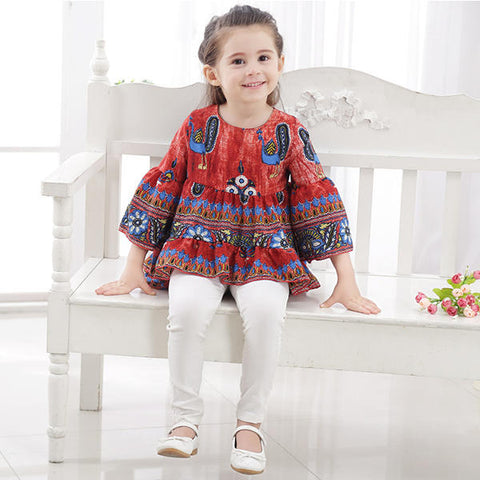 Kid Girls Peacock Printed Round Neck Bell-Sleeve Tops - Red 140