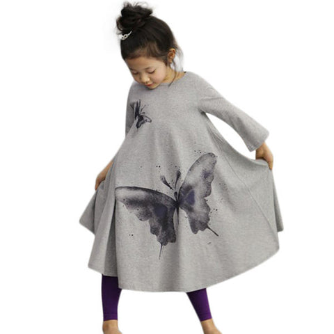Kid Girls Butterfly Printed Long Sleeve Dress - Pink 110