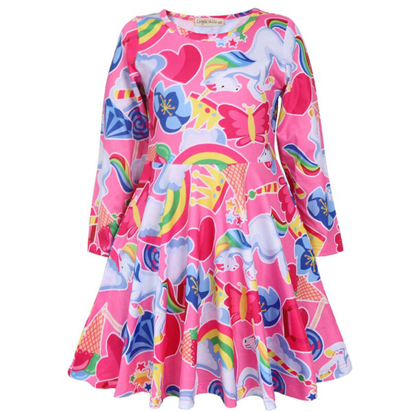 Kids Clothing Unicorn Printed Long Sleeve Casual Girls Pleated Dress - Pink 14