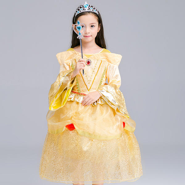 Kid Girls Bell Sleeve O-Neck Fancy Princess Dress - Yellow 140