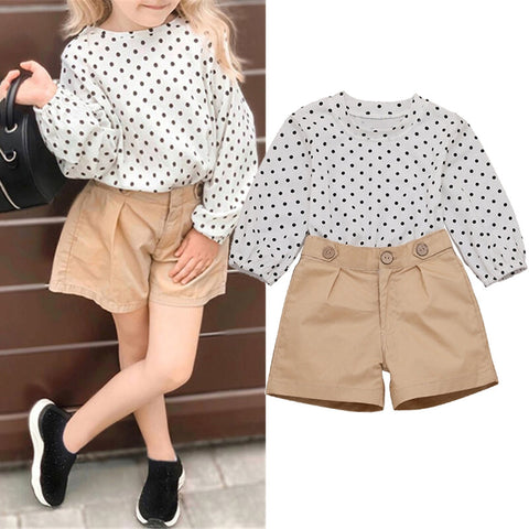 Girls Sets Polka Dot Long Sleeve Tops With Short Pants Kids Suit - White 5