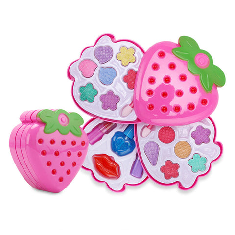 Kids Strawberry Cosmetic Princess Makeup Set Kit Eyeshadow Lip Gloss Blushes Girl Toys - 3 Layers