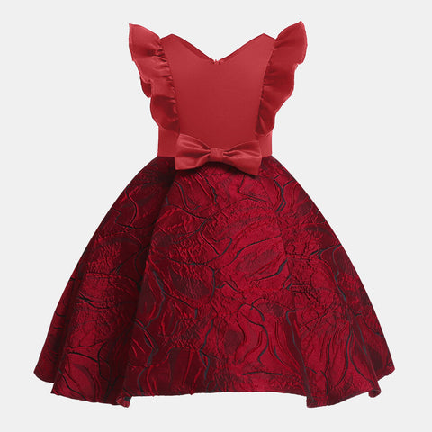 Kids Girls Formal Party Princess Dress - 7 Wine Red