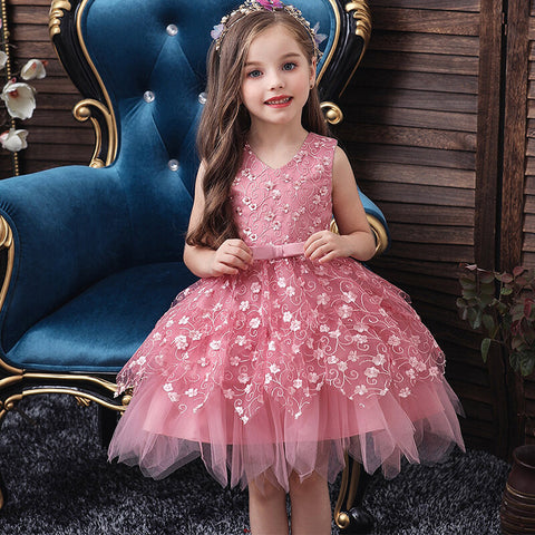 Girls Embroidery Mesh Sleeveless Bowknot Irregular Hem Party Dress - White 1-2 Y