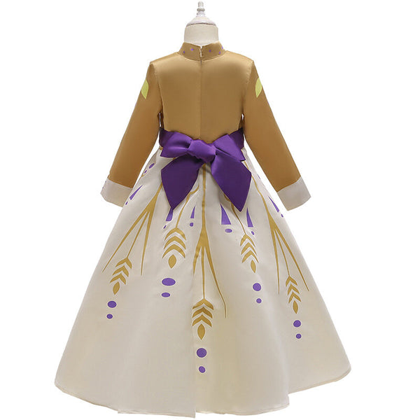 Kids Clothing Cotton Zip Up Long Sleeve Elegant The Frozen Theme Girls Dress - Champagne 9