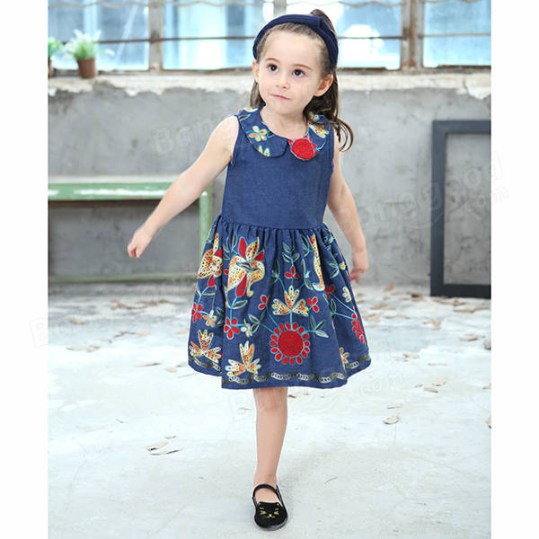 Baby Kid Girls Floral Embroidered Sleeveless Denim Dress - Blue 130