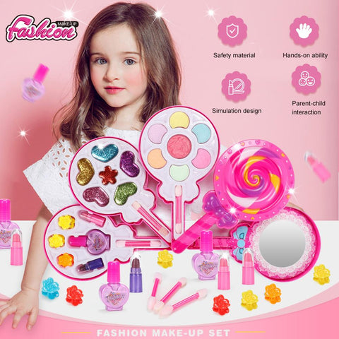 Safe Princess Girls Makeup Kids Cosmetics Make up Set Washable Beauty Makeup Box Baby Gift Toys for Girls Birthday Pretend Play