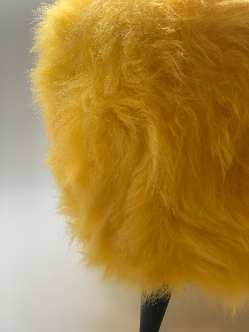 Yellow Plush Pouf with Wooden Legs