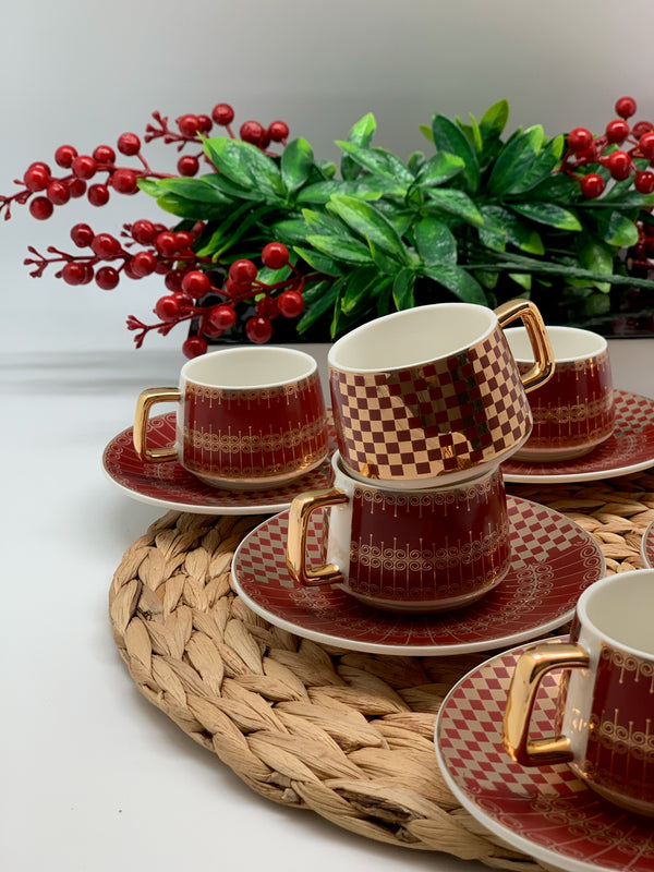 Red-Gold Detailed 6-Person Coffee Cup Set