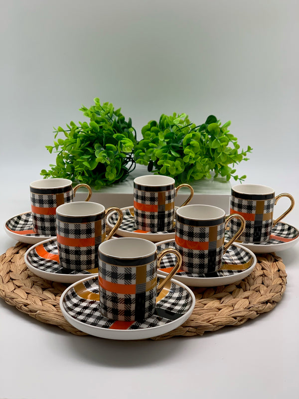 Orange Detailed Gingham 6-Person Cup Set
