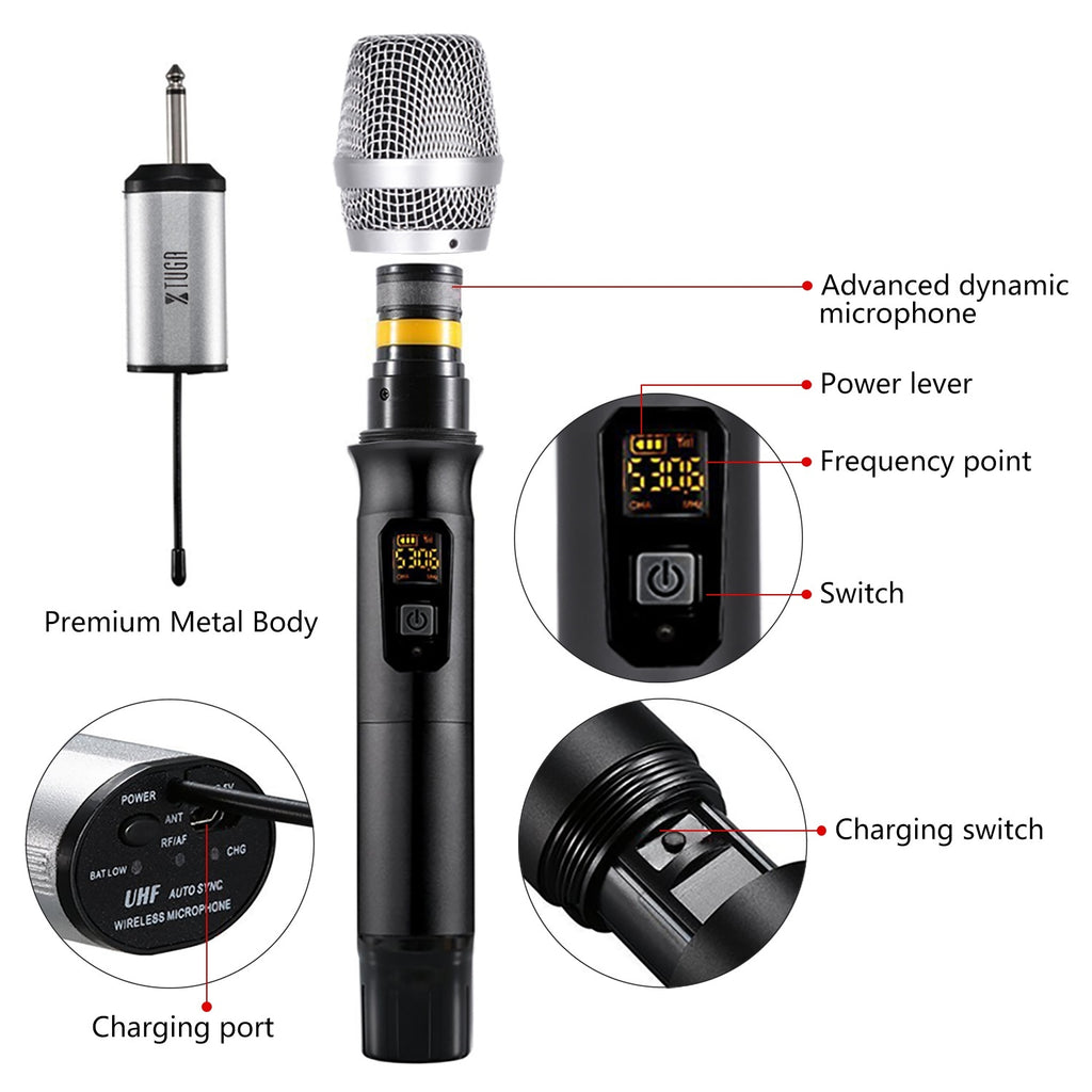 XTUGA X-400 25 Channel UHF Wireless Microphone Dual Microphone with Mini Potable Receiver 1/4' Output,For Church/home/Karaoke/Business Meeting(Dyal mic)