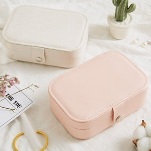 Portable Simple Storage Box Multifunctional Two Layers Container For Women Travel Small PU Leather Jewelry Case