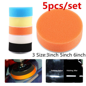 5pcs Car Sponge Polishing Buffing Waxing Pad Kit Tool polishing pad set Drill for Car Polisher Buffer Wheel Kit 3' 5' 6'