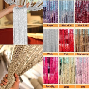 200cm*100cm Fly Screen Foil Fringe Curtain Tassel Curtain String Sparkle Curtains Room Divider Door Window Decor