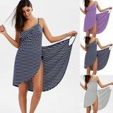 Women Fashion Sleeveless Stripes Print Cotton Casual Beach Wear Wrap Cover Up Dress Plus Size S-5XL Striped Dress