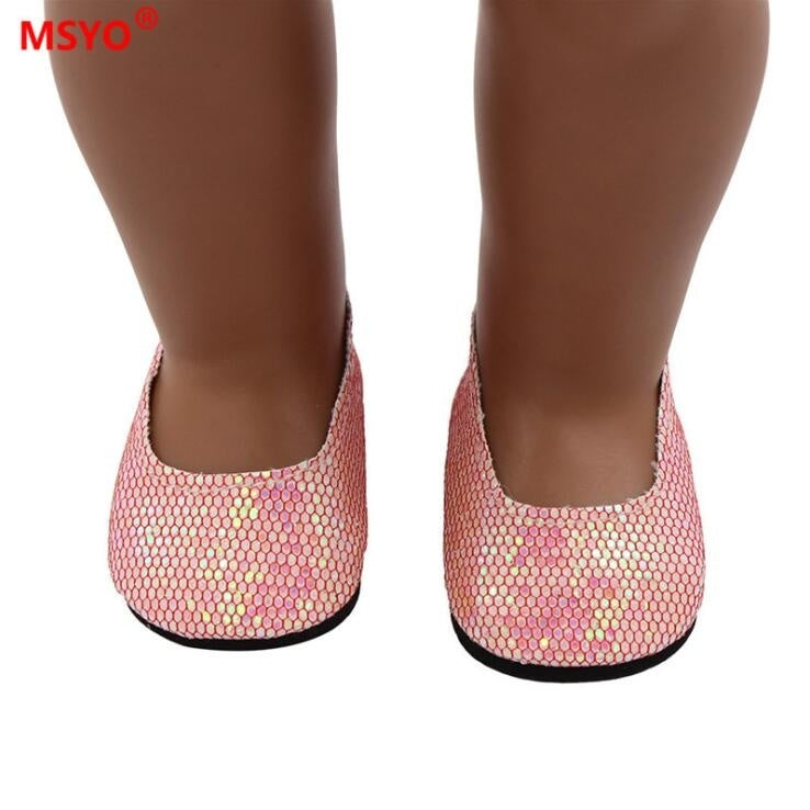 2019 Hot Sell Glitter Doll Shoes Dress Shoe for 18 Inch Our Generation American Doll Accessories