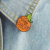 Pins Brooches JUST PEACHY Heart Peach Brooch Jewelry For Women Men Kids