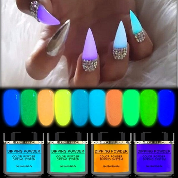 1 Bottle Neon Phosphor Dipping Powder Luminous Nail Art Decorations Fluorescent Glitter Glow Pigment Dust UV Gel Polish Design Nail Art Accessories