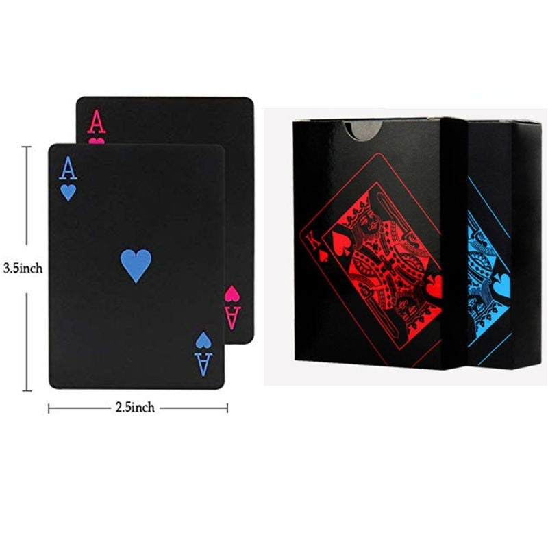 2 Decks Of Waterproof Poker Cards Plastic PVC Playing Cards Perfect For Party Game Blue+Red YTW