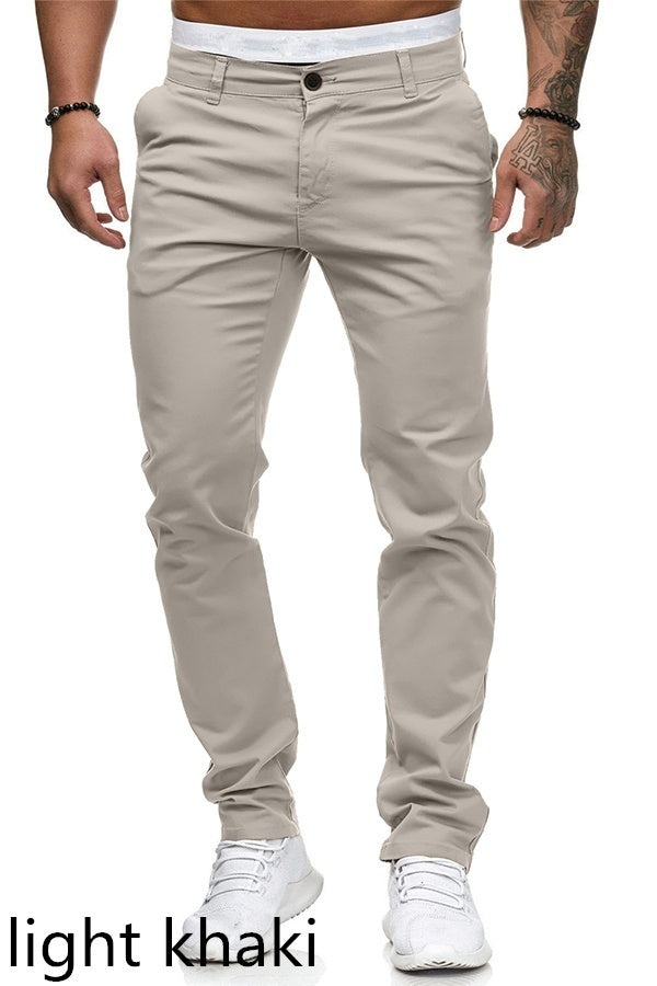8 Colors Mens Pants Cotton Casual Long Straight Male Trousers