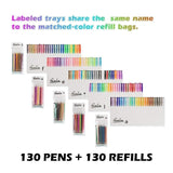 260 Colors Gel Pens Set 130 Unique Gel Pen Plus Set 130 Refills for Adult Coloring Books Drawing Art Markers