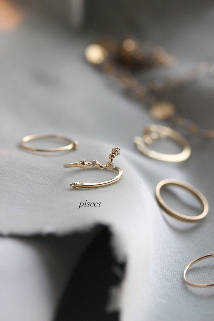 Charm Constellation Zodiac Rings Adjustable, Taurus Jewelry, Pisces, Virgo, Gift for Her, Diamond Ring, 925 Silver Ring, Couple ring, Bridesmaid Gift
