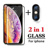 2 In 1 Camera Lens Protector + Full Cover Screen Tempered Glass Film for IPhone Xs Xs Max Xr 8 8Plus 7 7Plus Clear Camera Glass Screen Protector