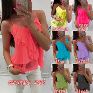 Women Fashion Cute Ruffle Tops Summer Spaghetti Strap Sleeveless Tees Pretty Summer Vest Women's Clothes