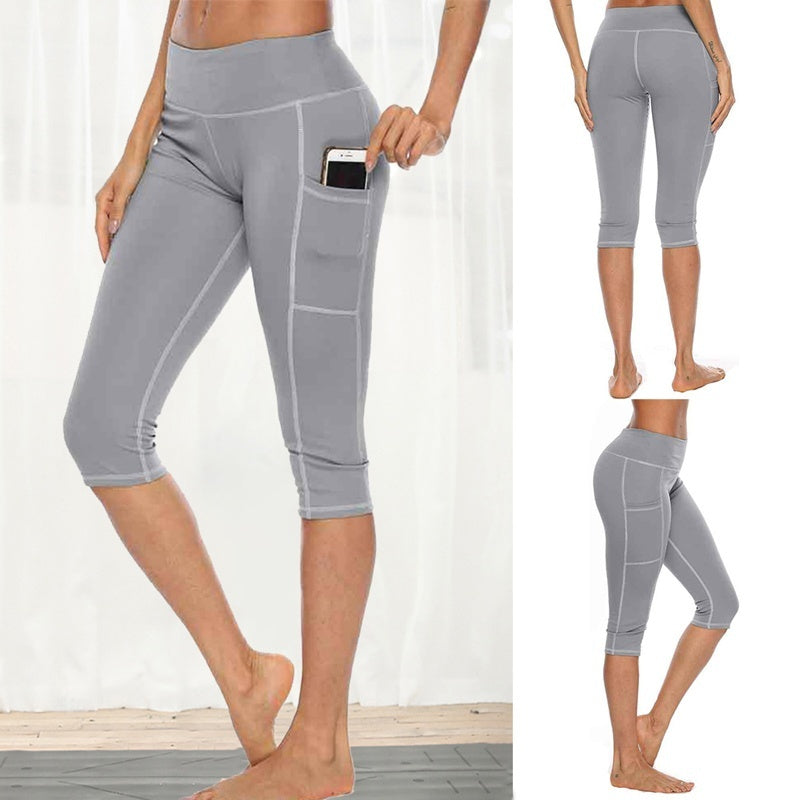Woman Workout Capri Pants Leggings Side Pocket High Waist Running Yoga Pants