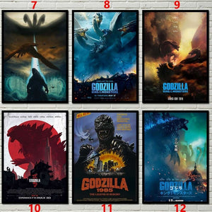 24Kind 2style Godzilla movie Kraft Posters Vintage Poster for Bedroom Living Room Decor Wall sticker (11.6*16.5 Inch)