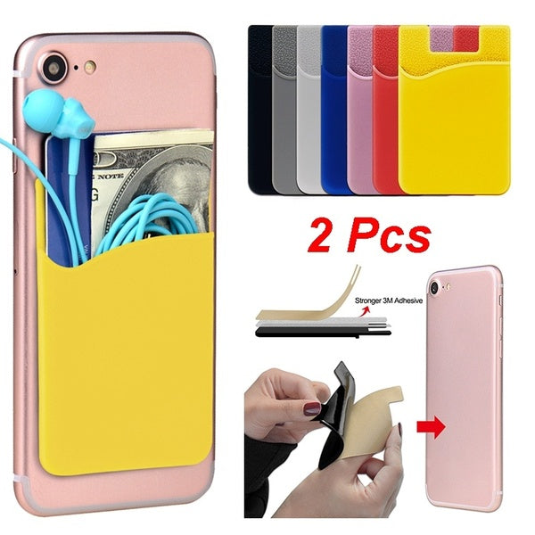 2Pcs Silicone Universal Mobile Phone Adhesive Back Card Holder Bus Card Credit Card Cover Bank Card Cover Wallet Headset Back Sticker