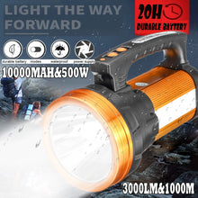将图片加载到图库查看器,3 in 1 Super Bright Charging 10000MAh 3000lm 500W Handheld LED Lantern Flashlight/Side Lights/Red and Blue Emergency Light Long-range Hunting Rechargeable Torch Lam