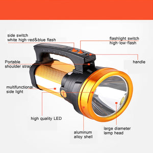3 in 1 Super Bright Charging 10000MAh 3000lm 500W Handheld LED Lantern Flashlight/Side Lights/Red and Blue Emergency Light Long-range Hunting Rechargeable Torch Lam
