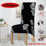 4/5/6pcs Stretch Spandex Printing Chair Cover XL Size High Back Chair Protector Slipcover for Resterant Wedding Party Dining Room Home Decor