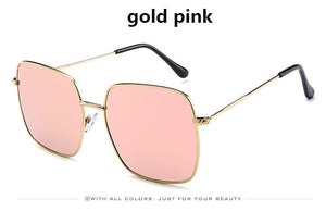 Higodoy Metal Women Oversized Sunglasses Big Size Sun Glasses for Men Female Shades Black UV400 Eyewear