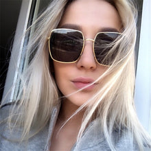 将图片加载到图库查看器,Higodoy Metal Women Oversized Sunglasses Big Size Sun Glasses for Men Female Shades Black UV400 Eyewear