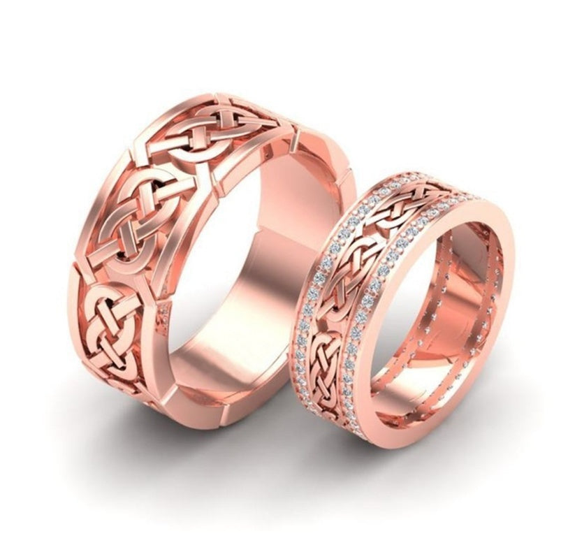 1PC Fashion Titanium Stainless Steel Couple Ring Punk Style Crystal Promise Creative Couple Ring ~ Color: [gold, Rose Gold]