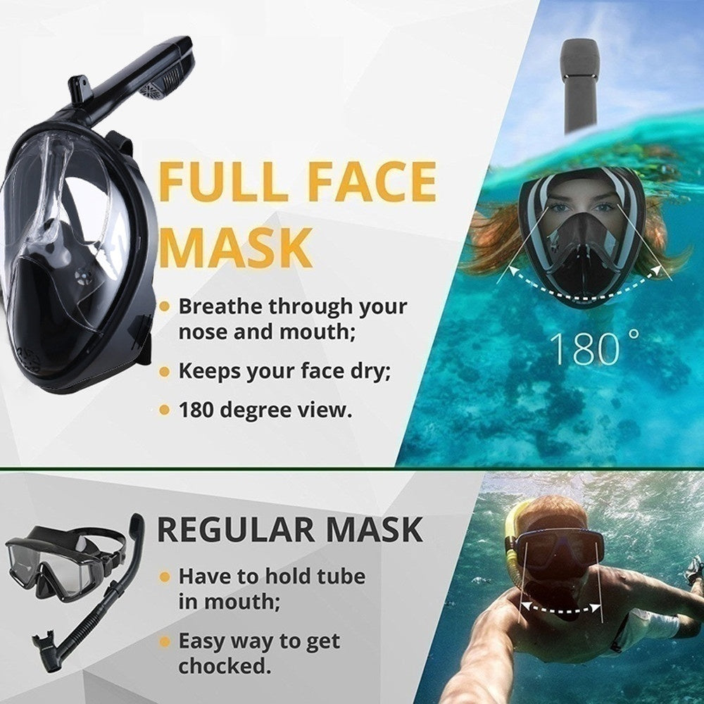 2019 New  6 Colors High Quality Child Adult Silicone Diving Mirror Anti Fog Detachable Dry Snorkeling Full Face Mask Set Scuba Diving Mask