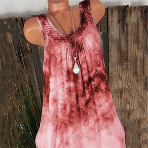 Summer Sleeveles Round Collar Loose Women Plus Size Tank Tops Blouse T Shirt Vest