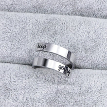 将图片加载到图库查看器,Hand Stamped Keep Fucking Going Ring  for Men Women Sister Best Freiend Inspired Twist Lovers Jewelry Statement Gift