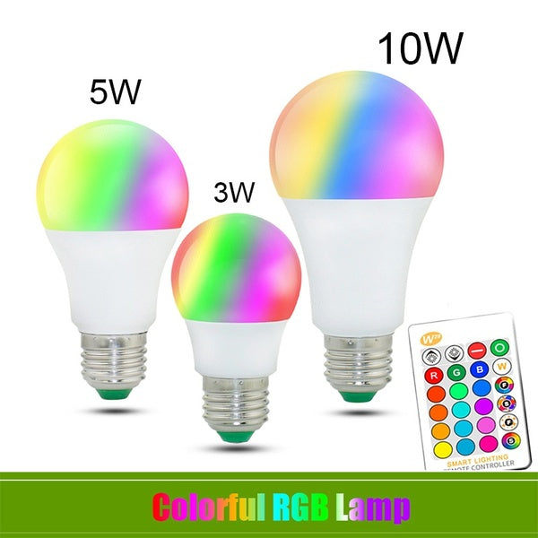 1PC E27 RGB LED Bulb 3W/5W/10W RGB Replaceable Bulb Colorful RGBW LED Light with Infrared Remote Control + Memory Mode