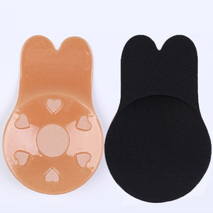 Women Self-Adhesive Lift Silicone Bra Reusable Strapless Invisible Push Up Patches Bra Bikini Nude Black