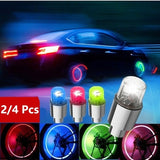 2/4 Pcs Car Tire Light Bicycle Light Bike Lamp Colorful Wheels Light Decorative Lights For Bicycle Car Accessories