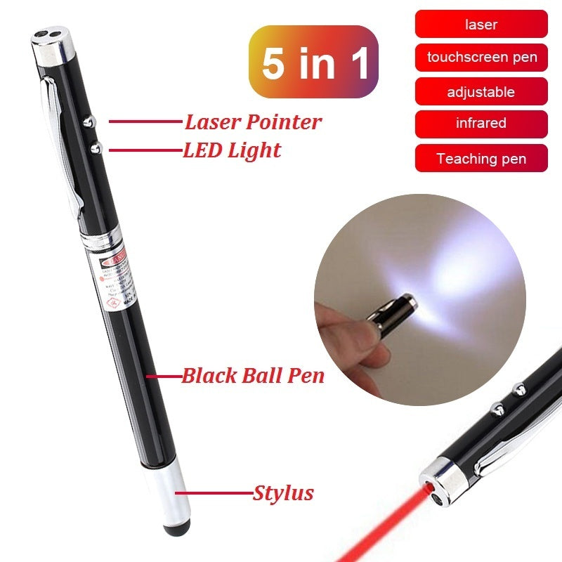 5 In 1 Extendable Teaching Pen Touch Screen&Writing Pen With Powerful Flash Light&Laser Pointer