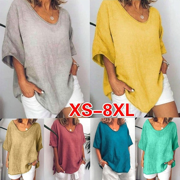 Women Summer Loose Tops V-neck Short Sleeve T-shirt Ladies Fashion Pure Color Pullovers Plus Size Casual Linen Blouse Lady Shirts XS-8XL