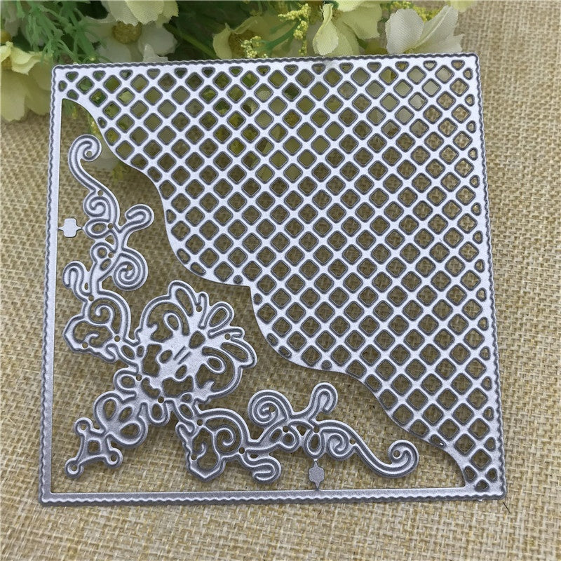 Grid Background Square Frame Metal Cutting Dies Stencils for DIY Scrapbooking DIY Paper Cards Photo Album Decorative Embossing